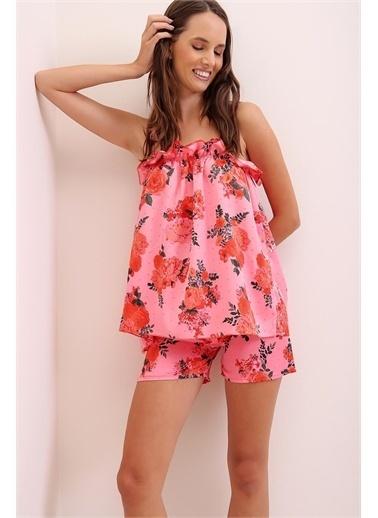 Pink Park Askılı Fırfırlı Desenli Pijama Takımı URT0023 Fuşya